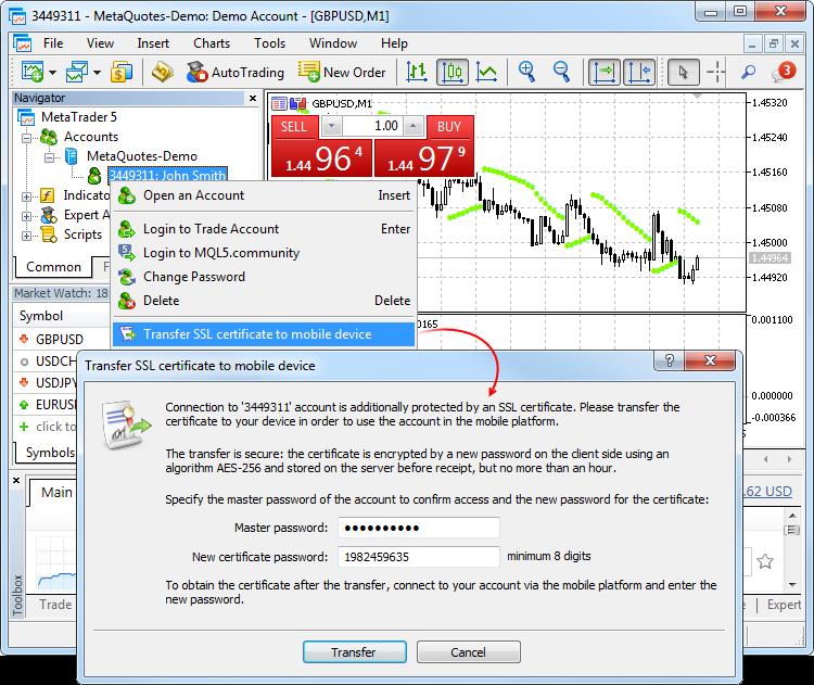 MT5 certificate transfering