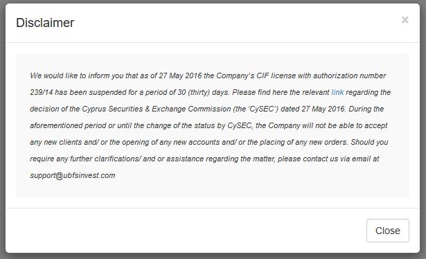 UBFS Invest license suspension notice