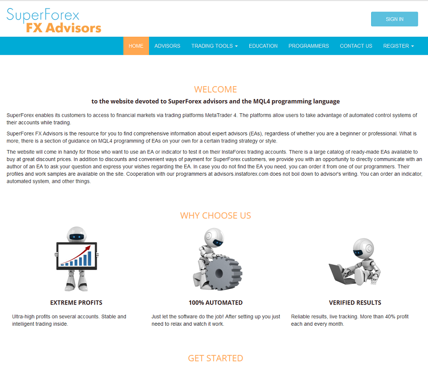 SuperForex launched a separate web page for EAs.