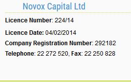 Novox Capital CySEC license