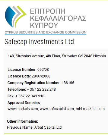 Safecap Investments CySEC