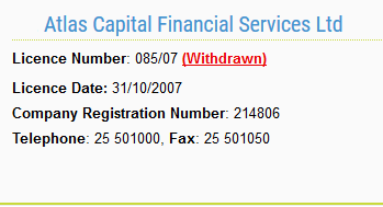 ACFX Atlas Capital Financial Services CySEC license withdrawal