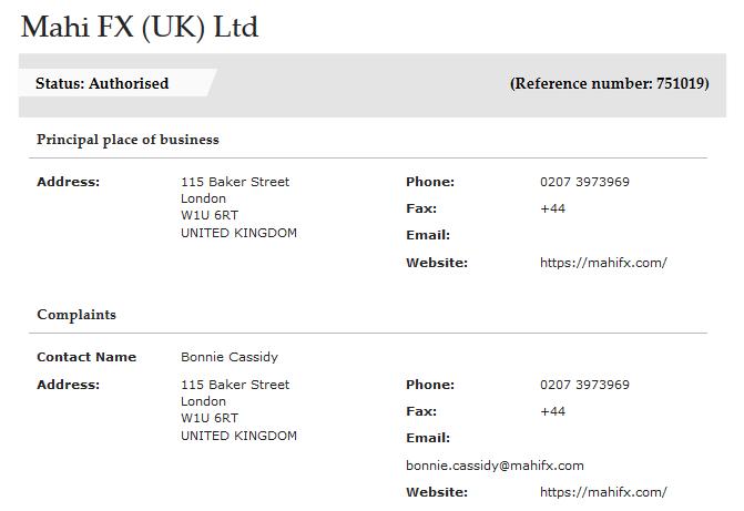 MahiFX UK FCA license